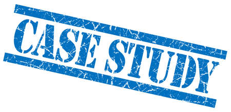 case study blue square grungy isolated rubber stamp Stock Photo