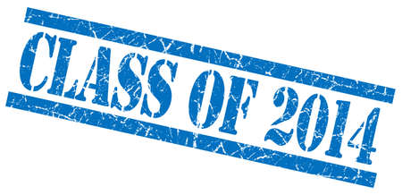 grungy isolated: class of 2014 blue square grungy isolated rubber stamp Stock Photo