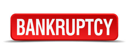bankruptcy red three-dimensional square button isolated on white background Ilustrace