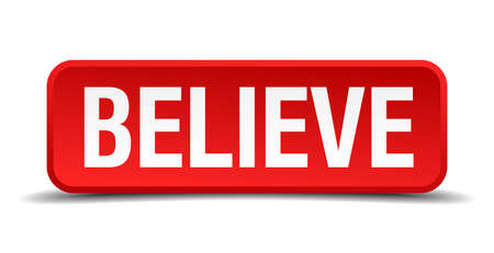 reliance: believe red three-dimensional square button isolated on white background