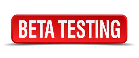 beta testing red three-dimensional square button isolated on white background Illusztráció