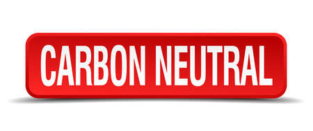 carbon neutral: carbon neutral red three-dimensional square button isolated on white background Illustration