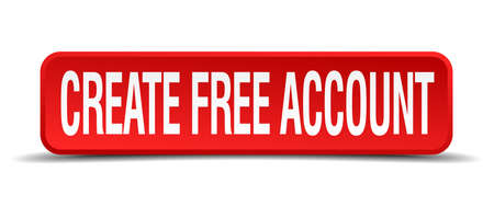 create free account red three-dimensional square button isolated on white background Vector