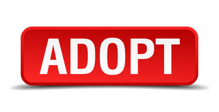 adoptive: Adopt red three-dimensional square button isolated on white background