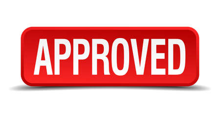 endorsed: Approved red three-dimensional square button isolated on white background