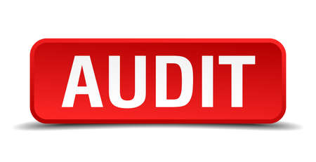 auditing: Audit red three-dimensional square button isolated on white background Illustration