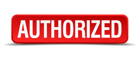 authorized red three-dimensional square button isolated on white background Illustration