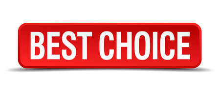 best choice red three-dimensional square button isolated on white background Vector
