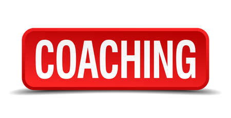 career coach: Coaching red three-dimensional square button isolated on white background