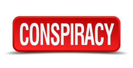 fbi: Conspiracy red three-dimensional square button isolated on white background