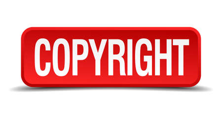plagiarism: Copyright red three-dimensional square button isolated on white background