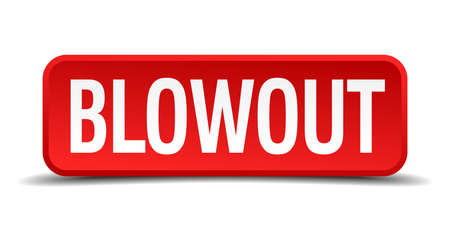 blowout red three-dimensional square button isolated on white background Vector