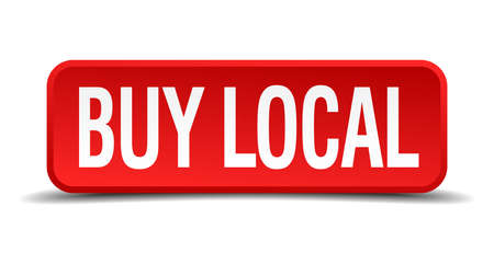 regional product: buy local red three-dimensional square button isolated on white background