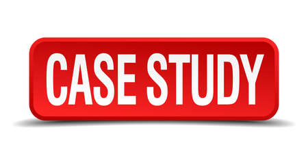 case study red three-dimensional square button isolated on white background Illustration