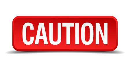 admonester: prudence bouton carr� en trois dimensions rouge isol� sur fond blanc