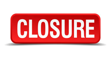 closure: closure red three-dimensional square button isolated on white background
