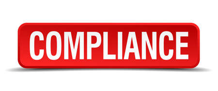 compliance red three-dimensional square button isolated on white background