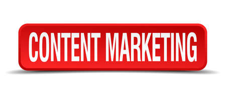 contention: content marketing red three-dimensional square button isolated on white background