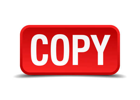counterfeit: Copy red three-dimensional square button isolated on white background