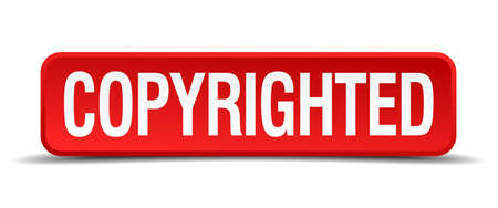 plagiarism: copyrighted red three-dimensional square button isolated on white background