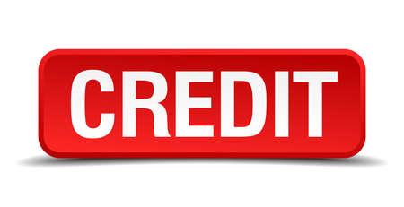 personal banking: Credit rosso pulsante quadrato tridimensionale isolato su sfondo bianco