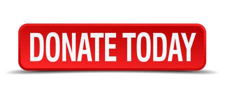 gönüllü: Bugün kırmızı 3d kare düğme beyaz zemin üzerine izole bağışta