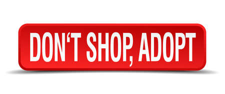 adoptive: dont shop adopt red 3d square button isolated on white background