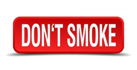 Dont smoke red 3d square button isolated on white background Vector