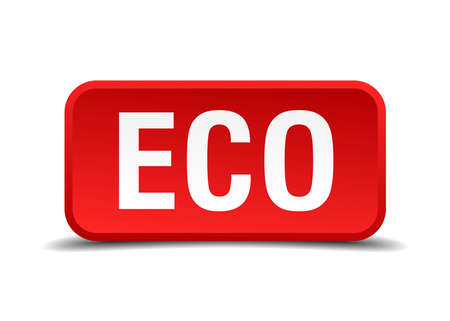 Eco red 3d square button isolated on white background Vector