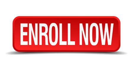 Enroll now red 3d square button isolated on white background