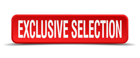 selector: exclusive selection red 3d square button isolated on white background