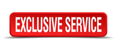 serviceable: exclusive service red 3d square button isolated on white background