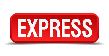 explicit: Express red 3d square button isolated on white background