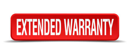 extensive: extended warranty red 3d square button isolated on white background Illustration