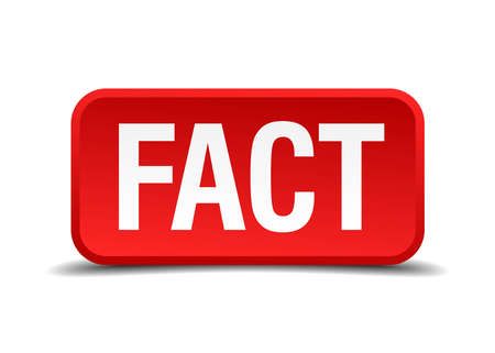 fact: Fact red 3d square button isolated on white background