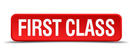 first class: first class red 3d square button isolated on white background