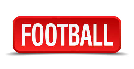 Football red 3d square button isolated on white background Vector