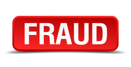 counterfeit: Fraud red 3d square button isolated on white background