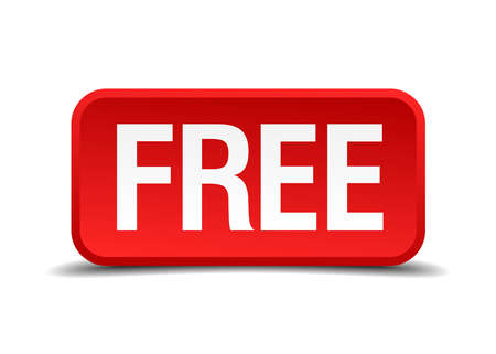 gratis: Free red 3d square button isolated on white background Illustration