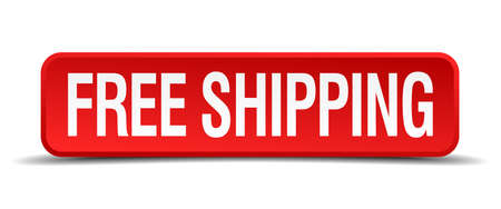 free shipping red 3d square button isolated on white background Vector