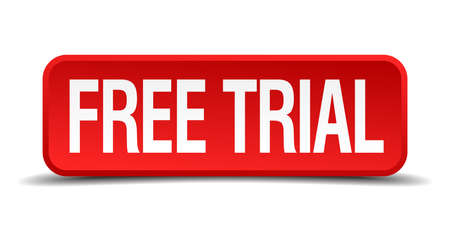 free trial: Free trial red 3d square button isolated on white background