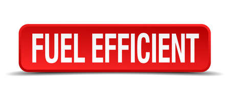 efficiently: fuel efficient red 3d square button isolated on white background Illustration