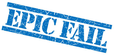 epic fail blue grungy stamp isolated on white background