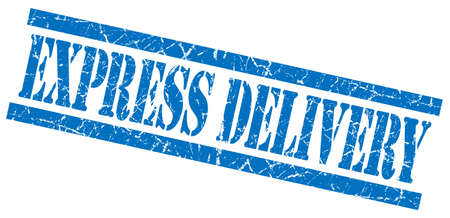express delivery blue grungy stamp isolated on white background photo