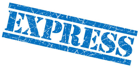 express blue grungy stamp isolated on white background photo