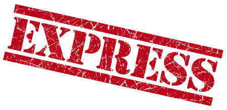 express red grungy stamp isolated on white background photo