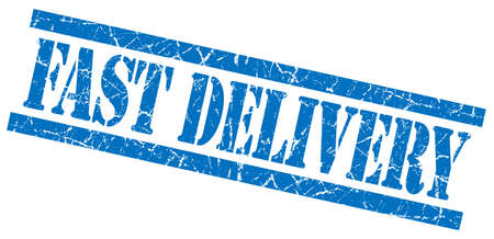 fast delivery blue grungy stamp isolated on white background photo