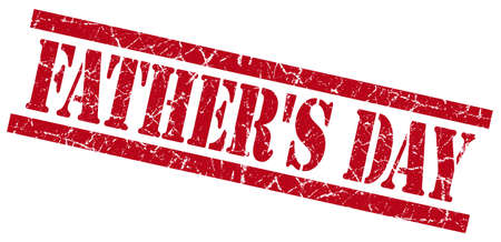 fathers day red grungy stamp isolated on white background photo