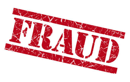 hoax: fraud red grungy stamp isolated on white background Stock Photo