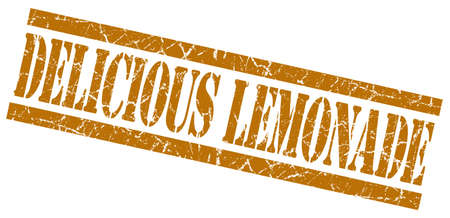 delicious lemonade brown grungy stamp on white background photo